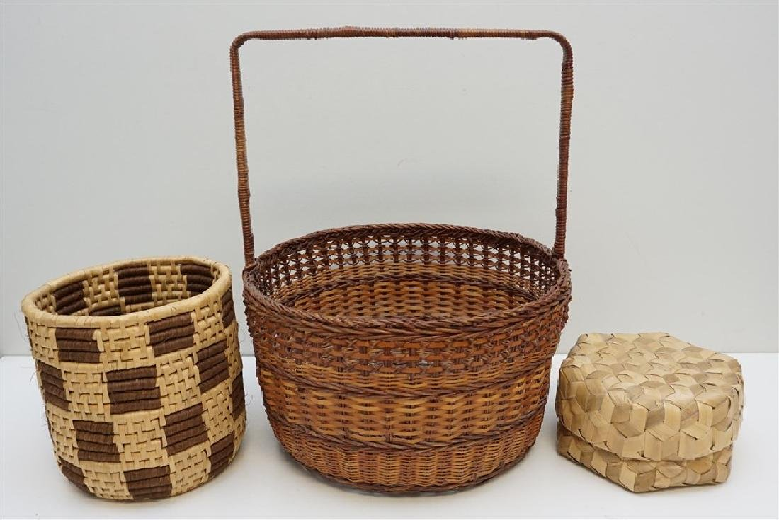 3 VINTAGE WICKER - SWEETGRASS BASKETS