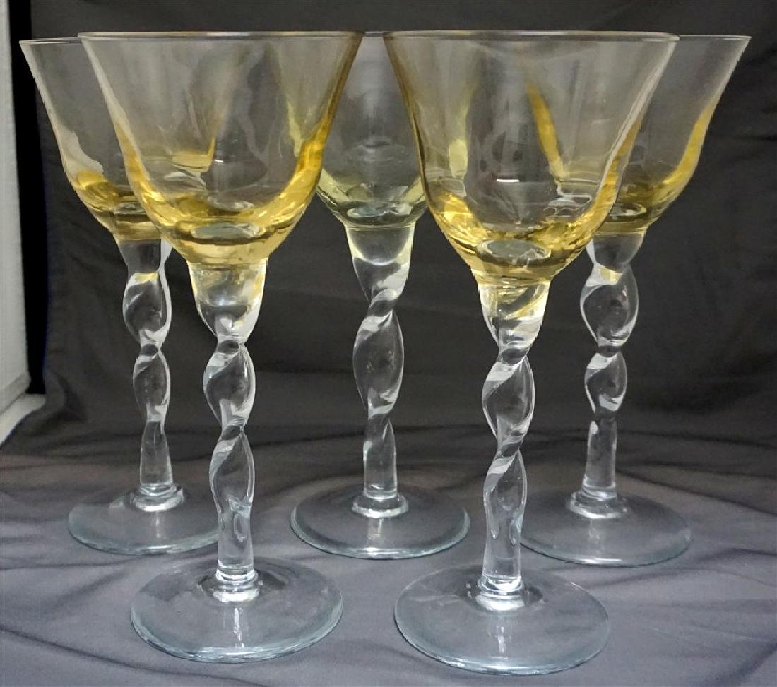 5 TALL BLOWN COCKTAIL/WINE GLASSES