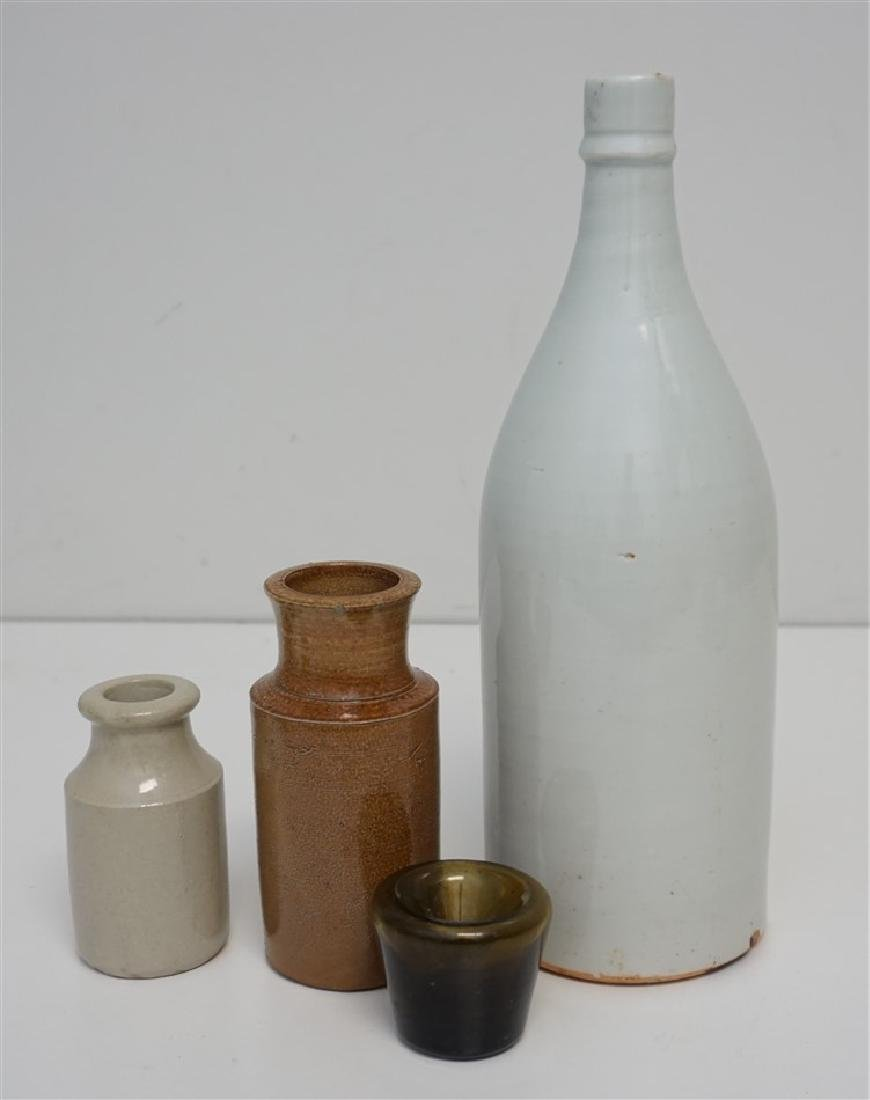 4 pc STONEWARE BOTTLES & INKWELL
