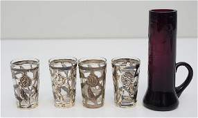 5 pc STERLING SHOT GLASSES & ETCHED BUD