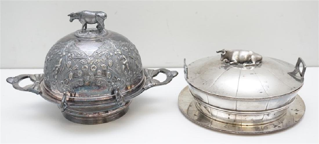 2 COW SILVER PLATE BUTTER SERVERS
