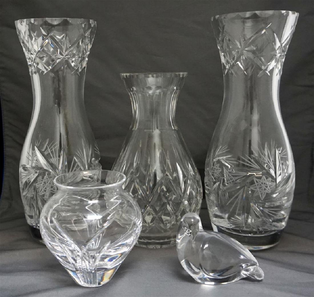 5 pc CRYSTAL / GLASS LOT VASES - CARAFE - MORE