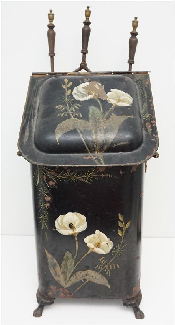 TOLE PAINTED COAL SCUTTLE & TOOLS