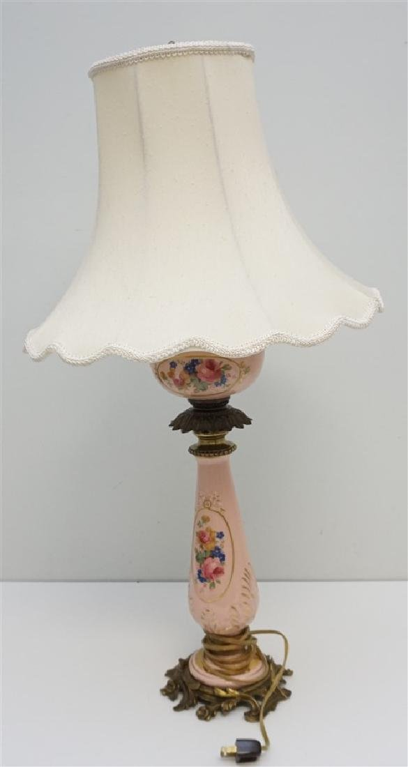VINTAGE PINK PORCELAIN BANQUET / TABLE LAMP