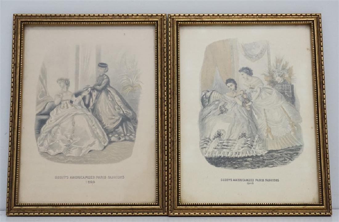 PAIR OF FRAMED GODEY'S FASHION PRINTS