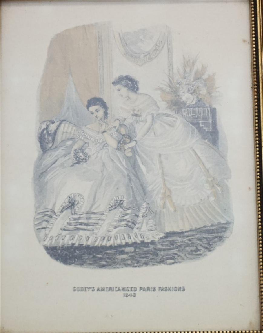 PAIR OF FRAMED GODEY'S FASHION PRINTS - 3