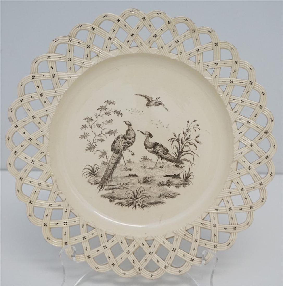 "18th c. ""LIVERPOOL BIRDS"" CREAMWARE PLATE"