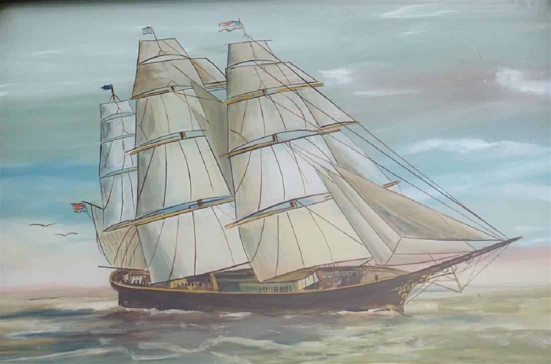 REVERSE PAINTED MIRROR - CLIPPER SHIP - 3