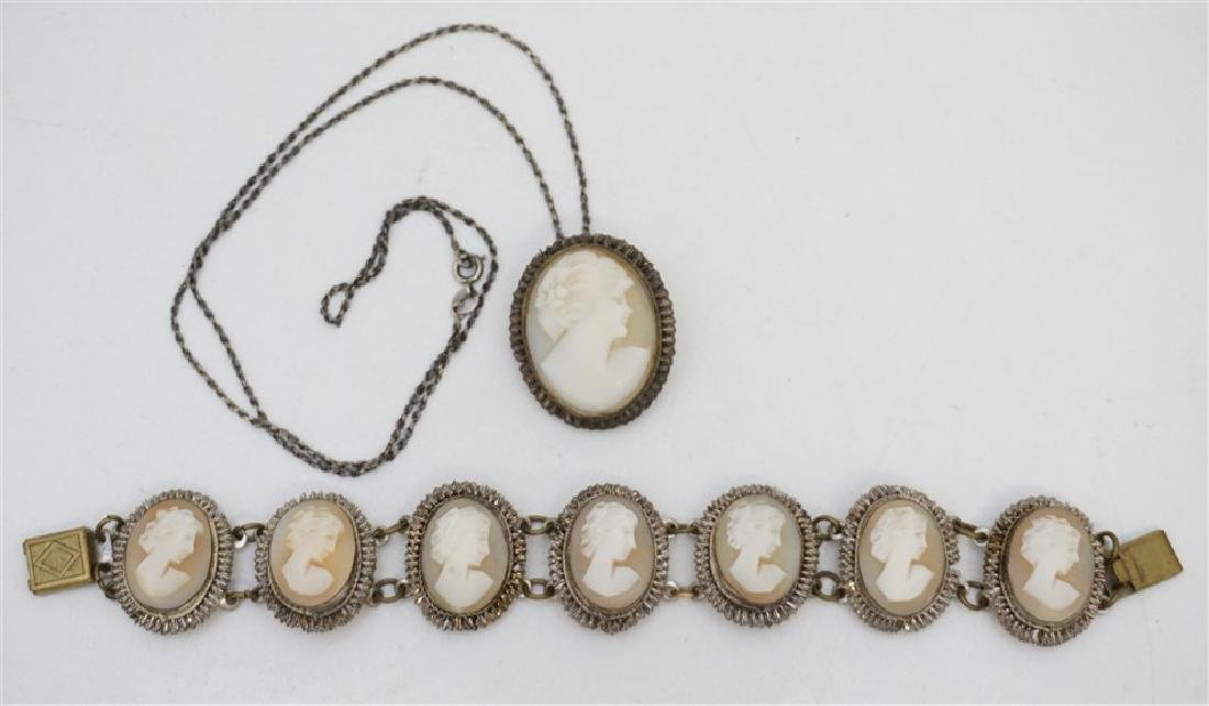 ANTIQUE CAMEO BRACELET & BROOCH