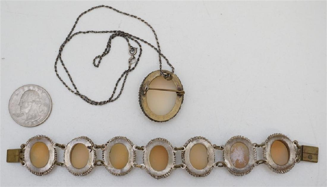 ANTIQUE CAMEO BRACELET & BROOCH - 4