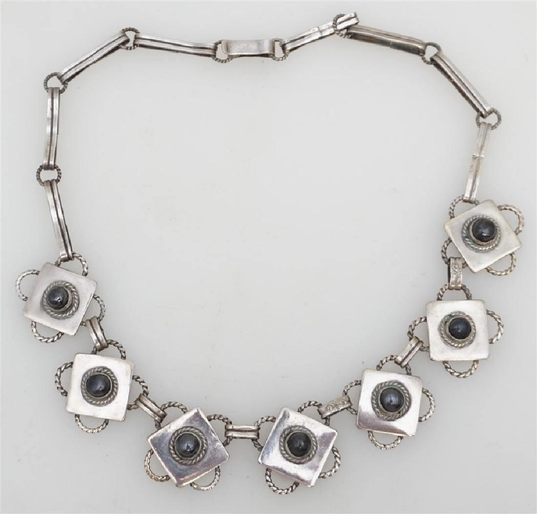 ART DECO MEXICAN SILVER & ONYX NECKLACE