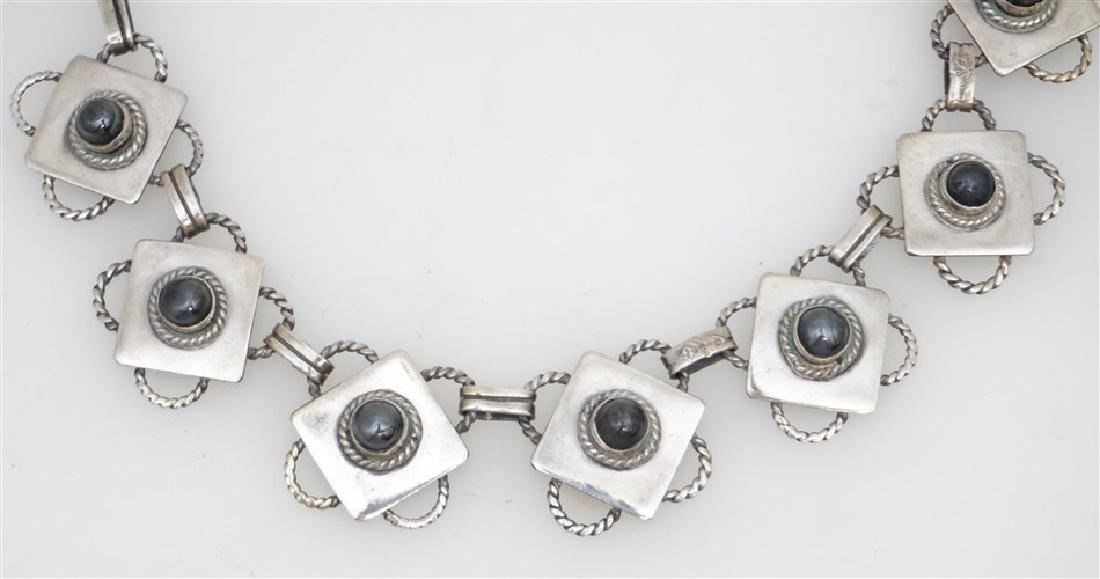 ART DECO MEXICAN SILVER & ONYX NECKLACE - 2