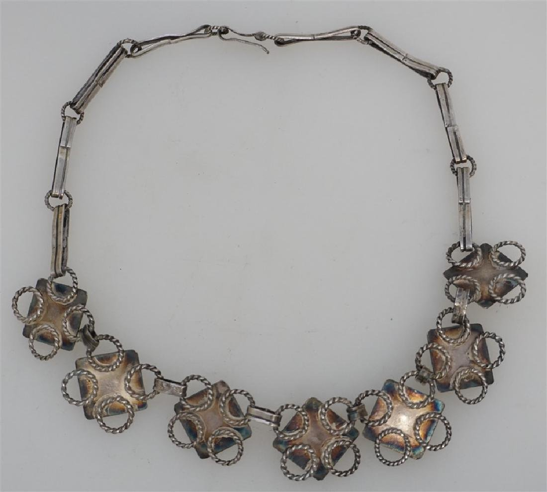 ART DECO MEXICAN SILVER & ONYX NECKLACE - 3