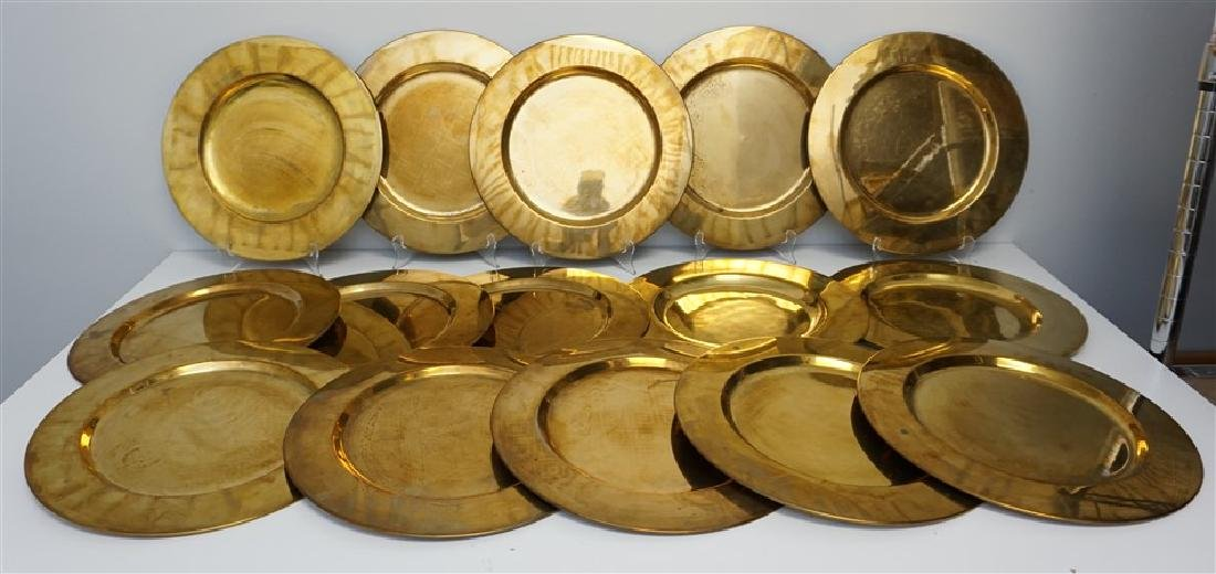 15 VINTAGE BRASS CHARGERS