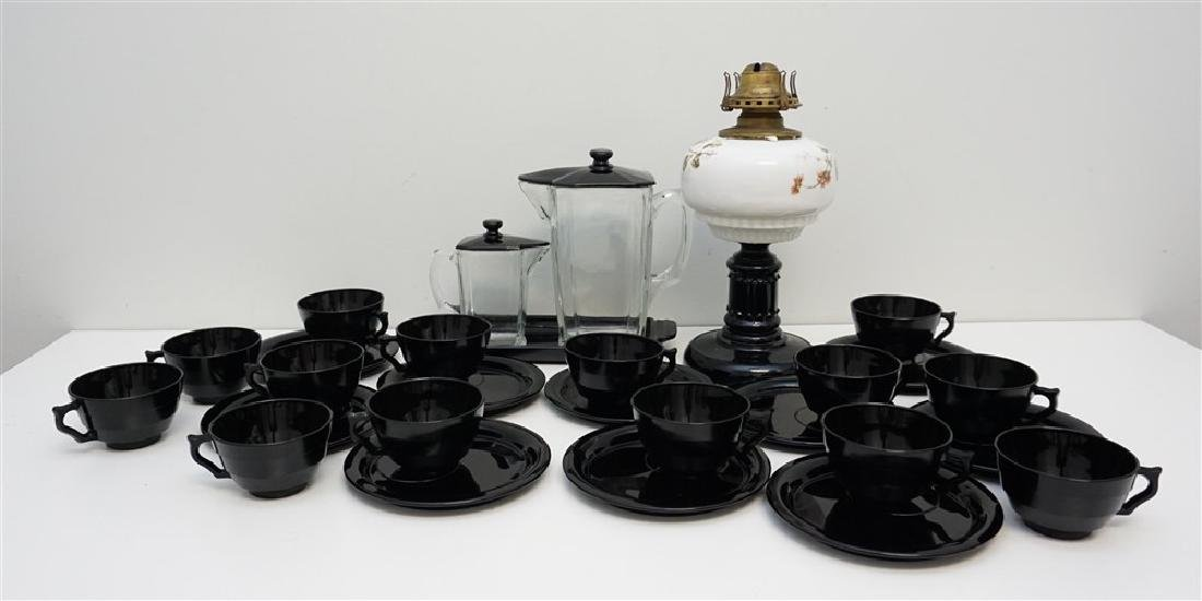 LARGE LOT BLACK AMETHYST GLASS