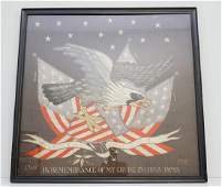 LARGE PATRIOTIC NEEDLEWORK OF EAGLE  FLAGS