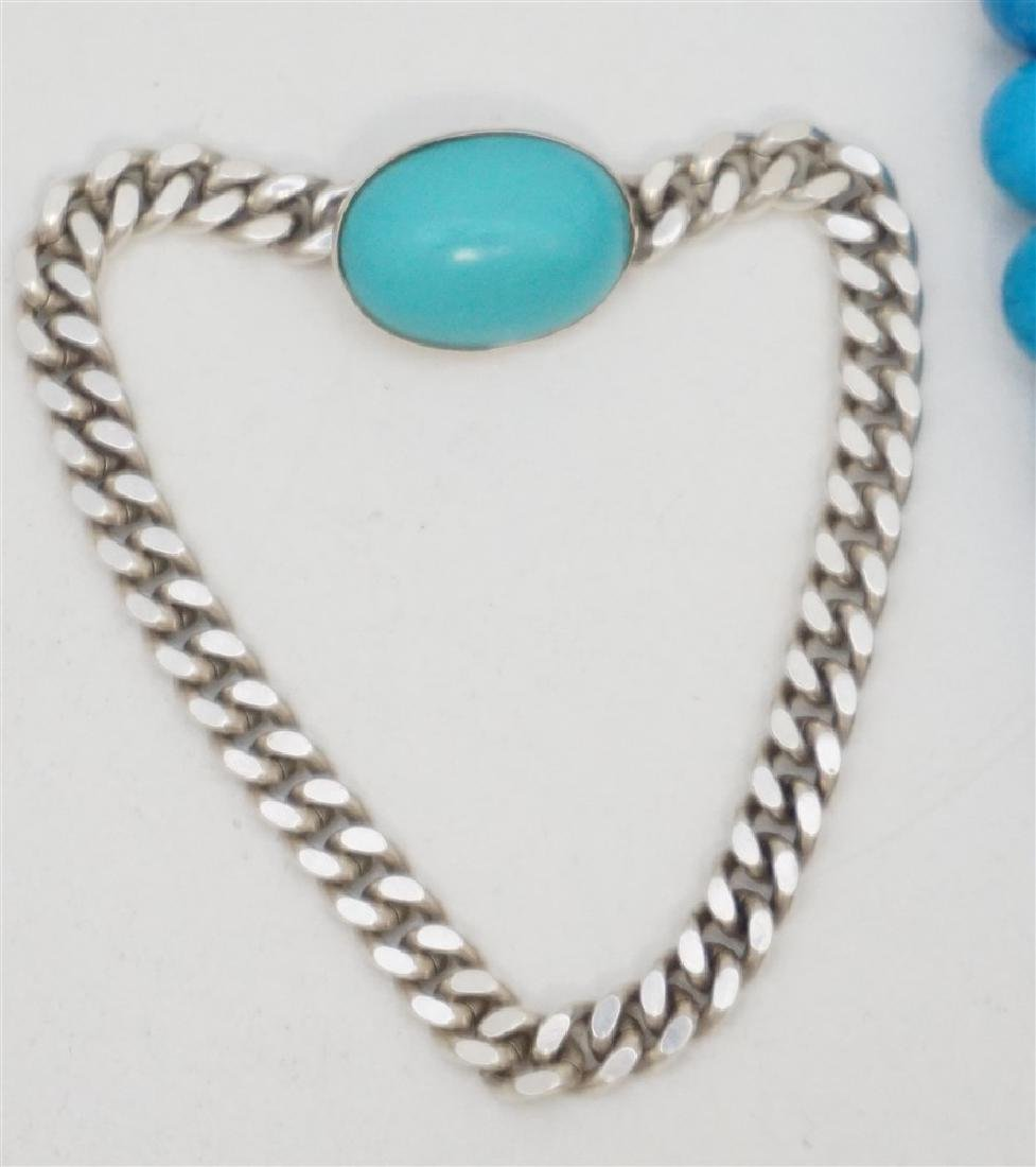 3PC TURQUOISE HOWLITE STERLING JEWELRY - 4