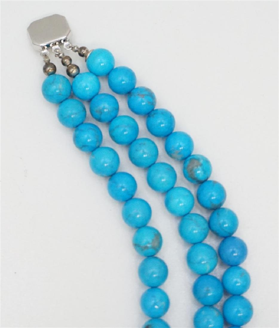 3PC TURQUOISE HOWLITE STERLING JEWELRY - 5