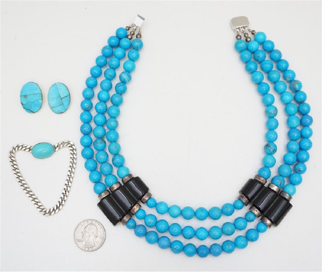 3PC TURQUOISE HOWLITE STERLING JEWELRY - 6