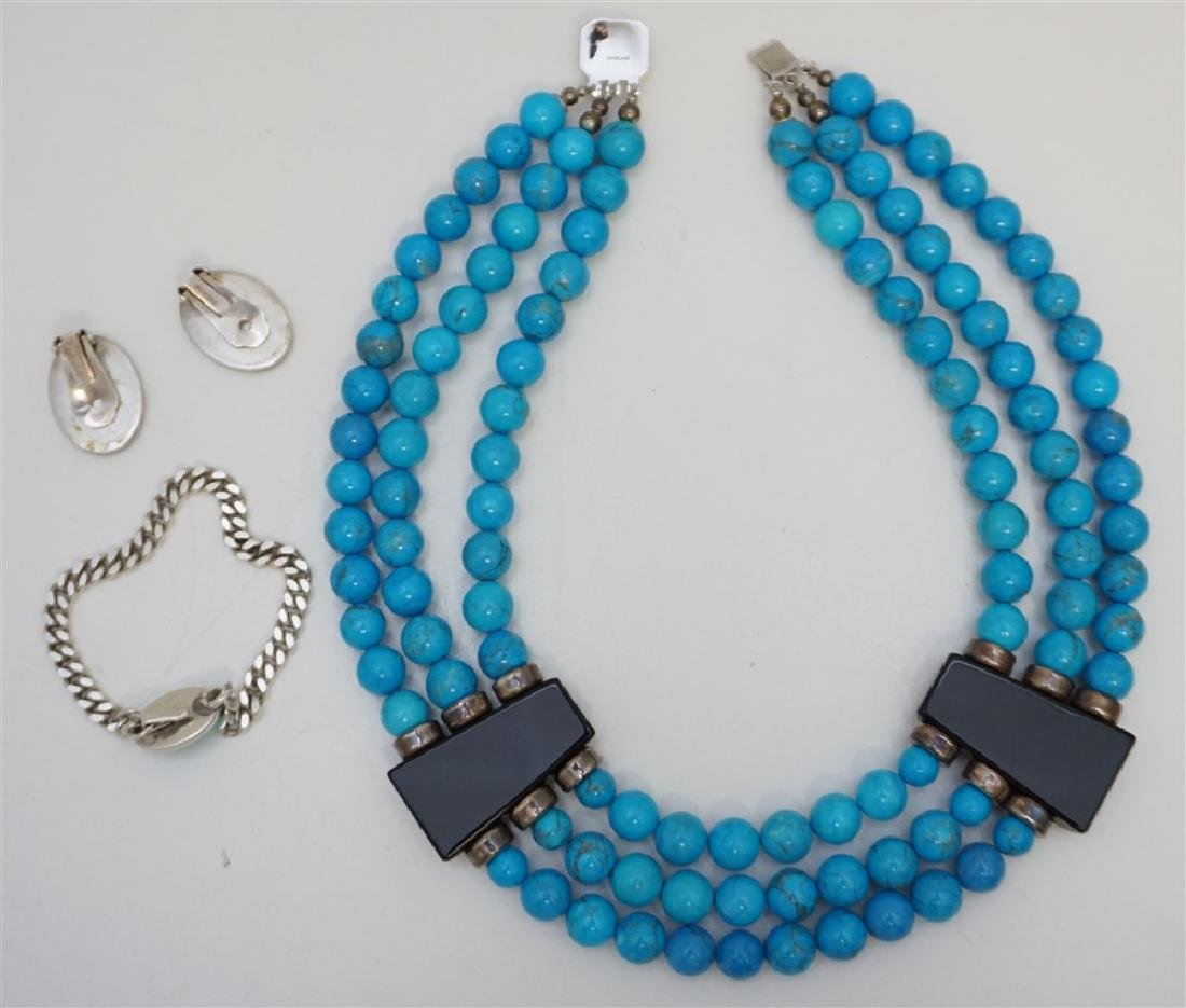 3PC TURQUOISE HOWLITE STERLING JEWELRY - 7