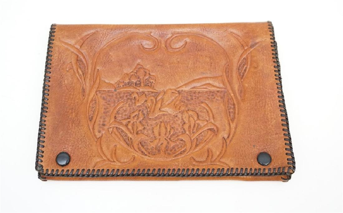 VINTAGE TOOLED LEATHER CLUTCH