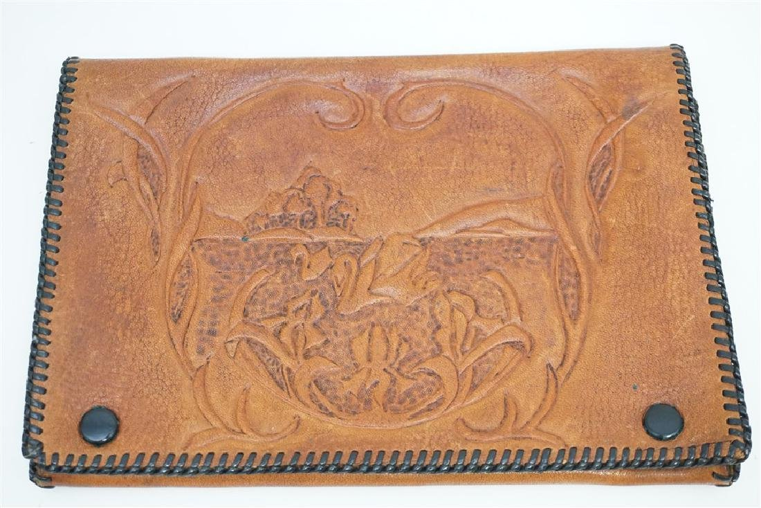 VINTAGE TOOLED LEATHER CLUTCH - 3