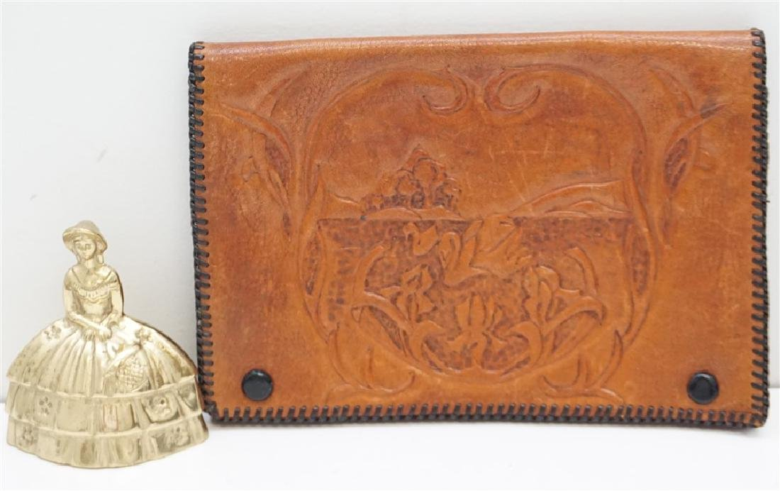 VINTAGE TOOLED LEATHER CLUTCH - 5