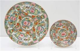2 CHINESE EXPORT ROSE CANTON PLATES