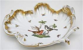 LARGE HEREND ROTHSCHILD BIRD SHELL DISH