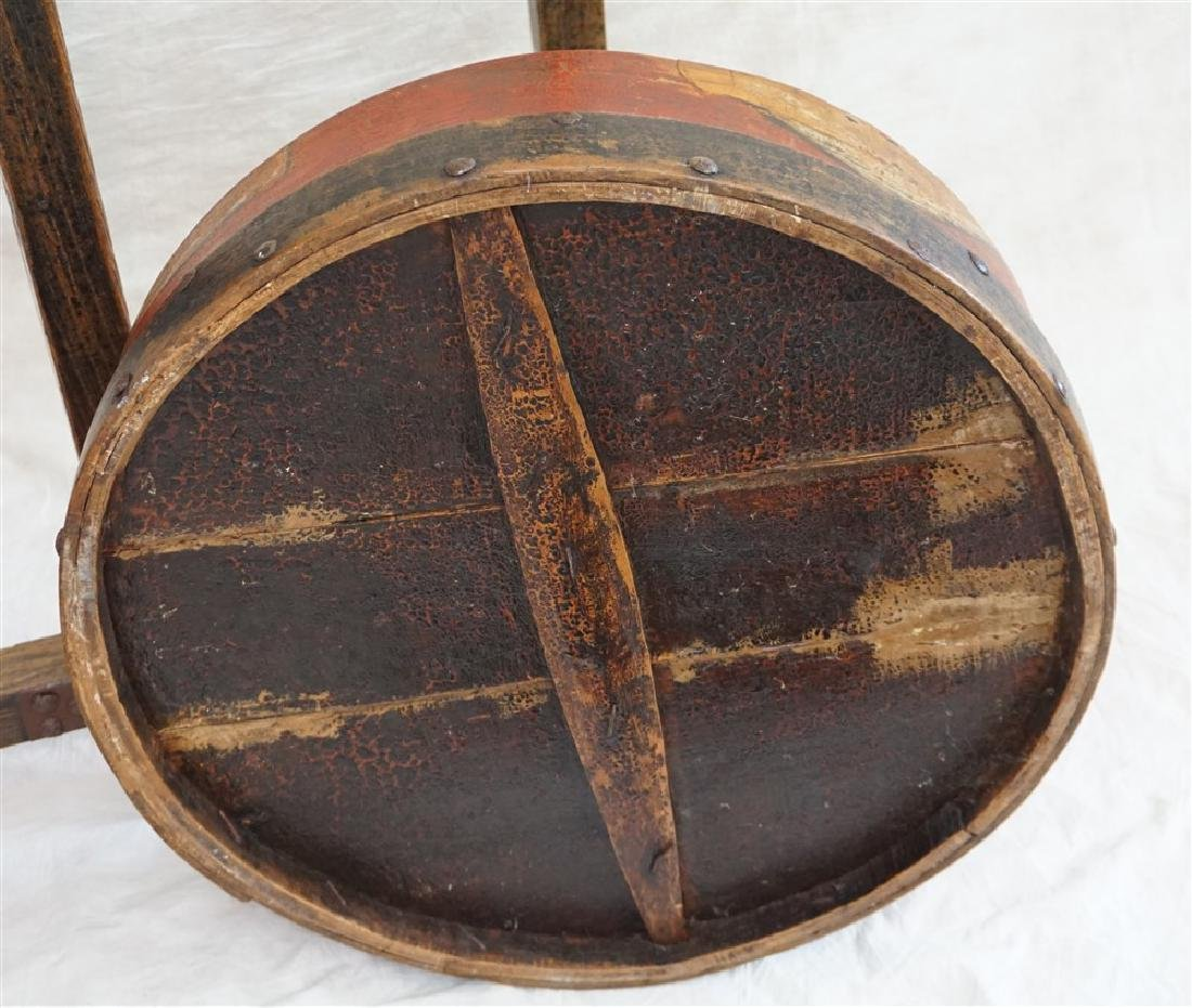 ANTIQUE LARGE CHINESE WOOD WEDDING / STORAGE BASKET - 8