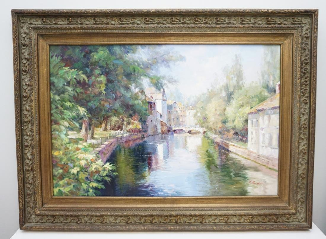 FRAMED FRENCH CANAL OIL PAINTING