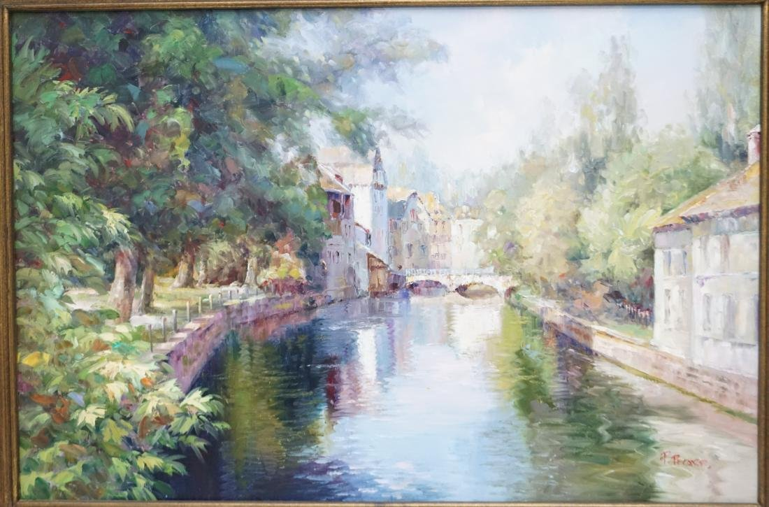 FRAMED FRENCH CANAL OIL PAINTING - 2