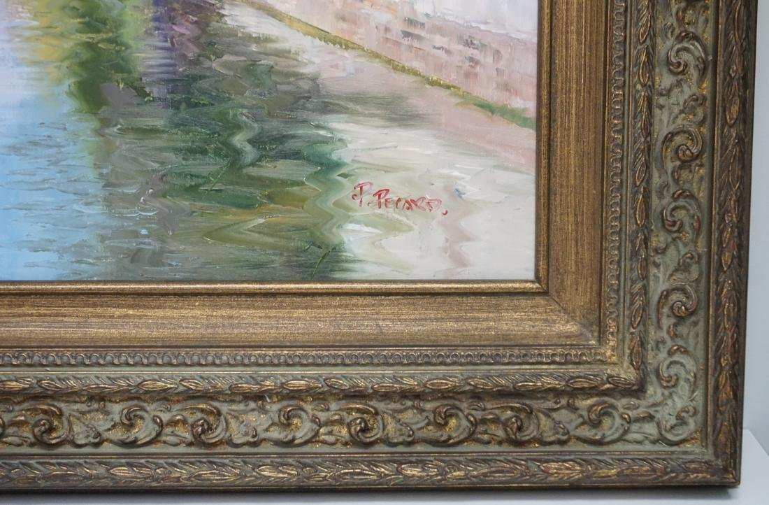 FRAMED FRENCH CANAL OIL PAINTING - 3