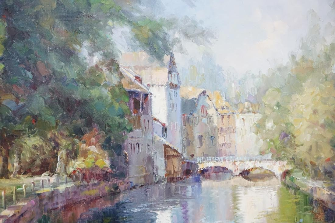 FRAMED FRENCH CANAL OIL PAINTING - 4