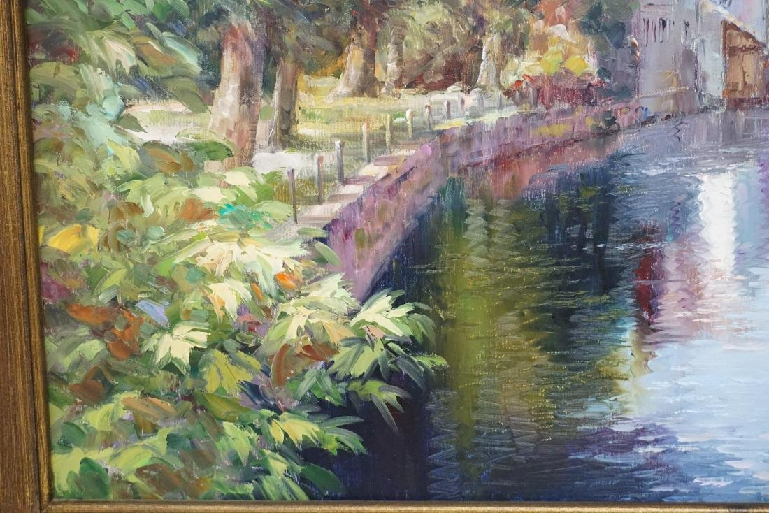 FRAMED FRENCH CANAL OIL PAINTING - 5