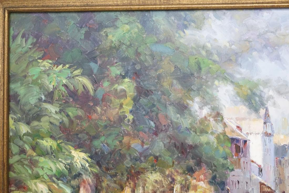 FRAMED FRENCH CANAL OIL PAINTING - 6