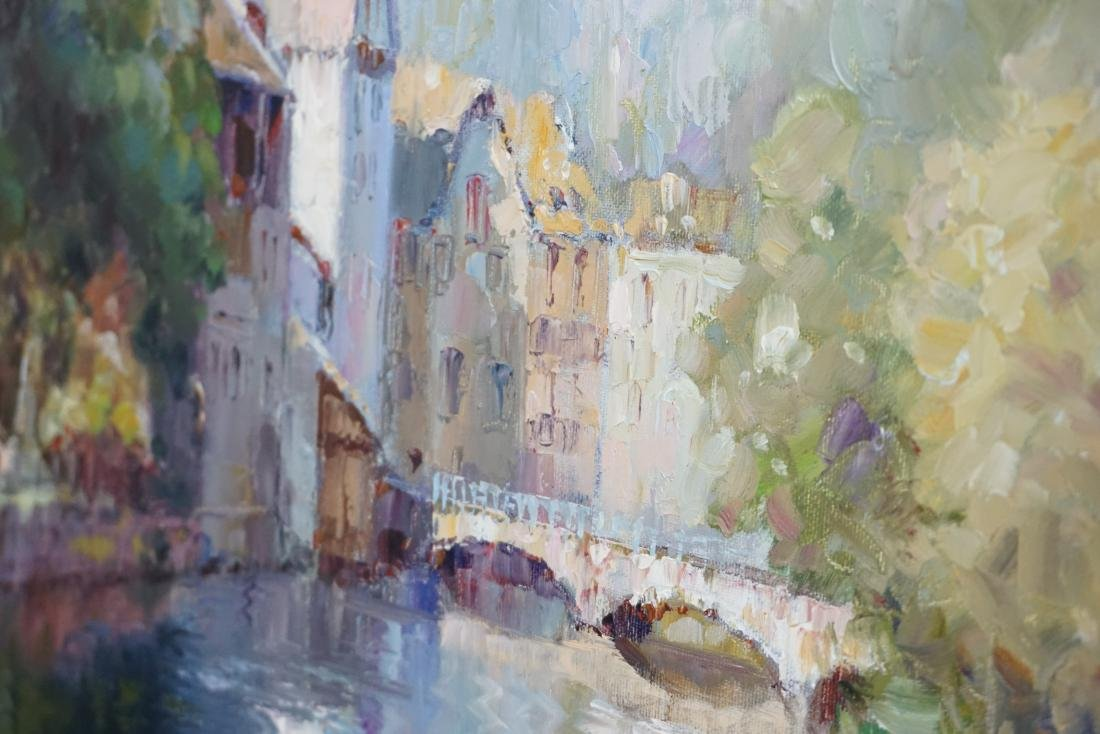 FRAMED FRENCH CANAL OIL PAINTING - 7