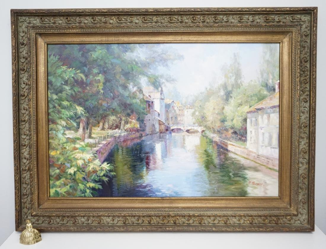 FRAMED FRENCH CANAL OIL PAINTING - 8