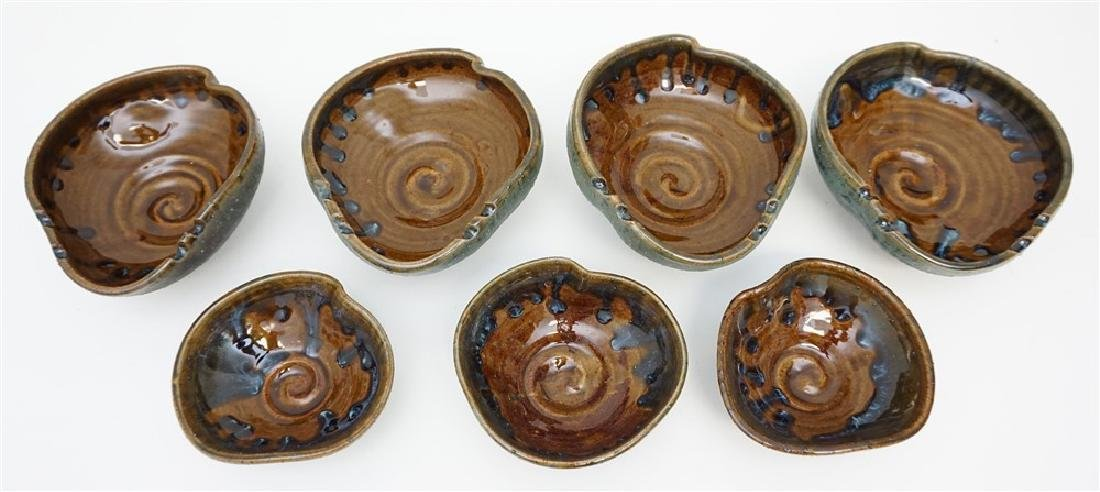 7 pc EB STUDIO ART POTTERY BOWLS - 2