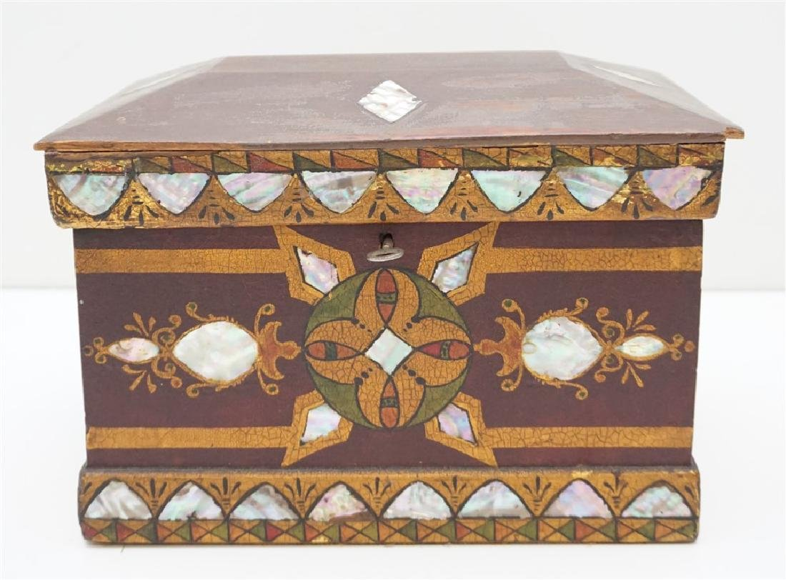 19th c INLAID MOP PAINTED JEWELRY BOX