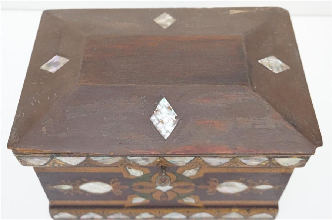 19th c INLAID MOP PAINTED JEWELRY BOX - 2