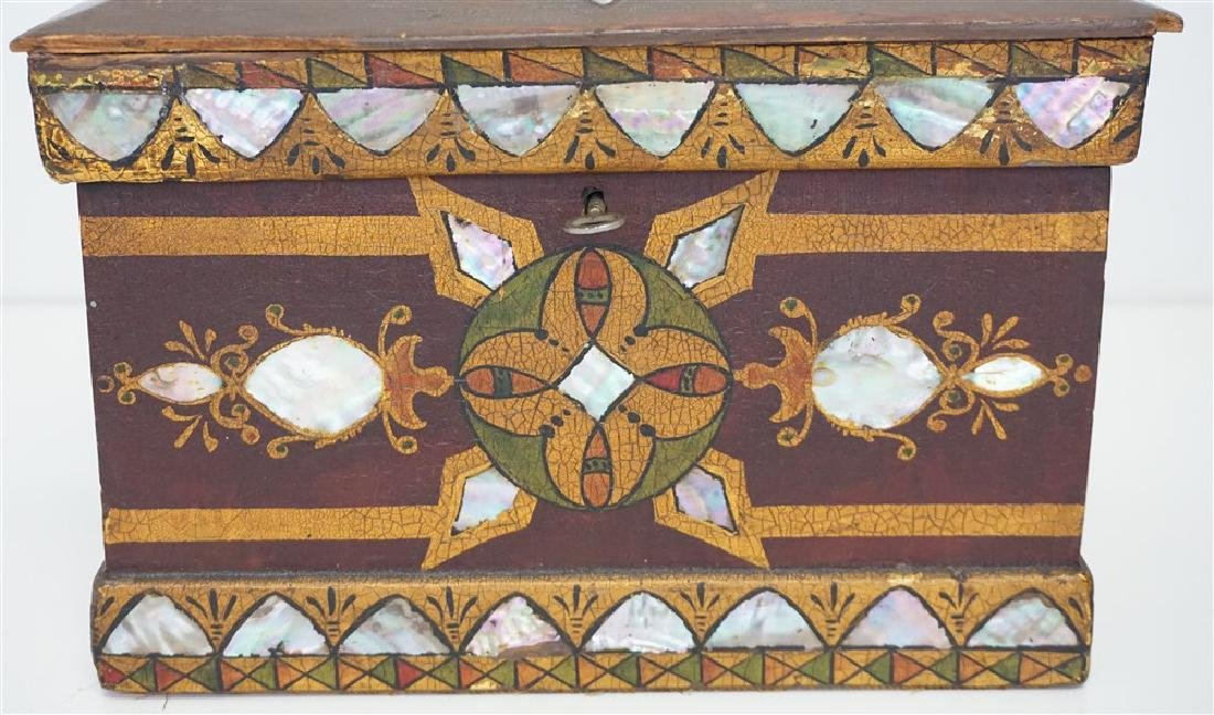 19th c INLAID MOP PAINTED JEWELRY BOX - 3