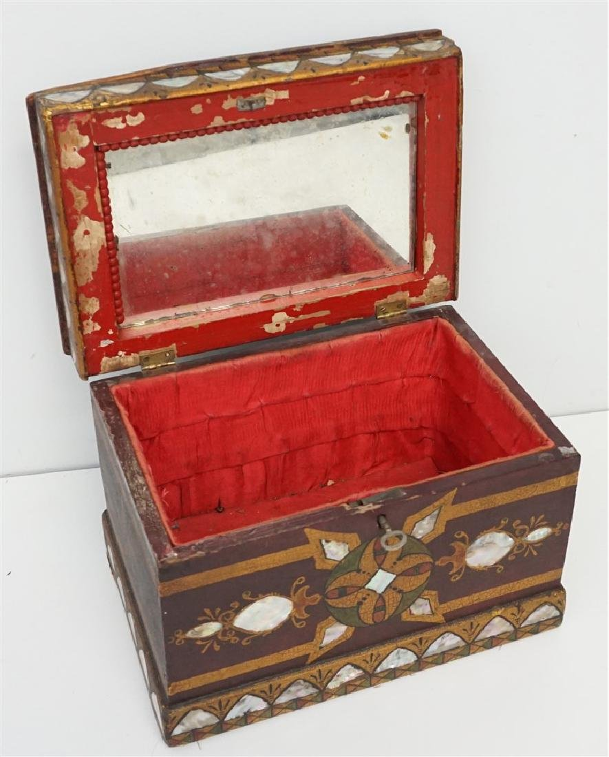 19th c INLAID MOP PAINTED JEWELRY BOX - 4