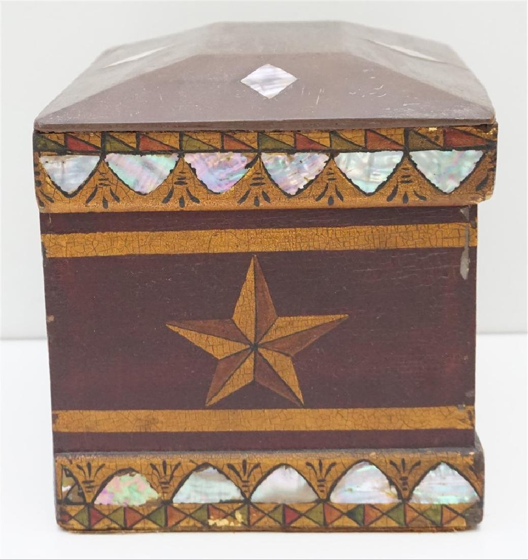 19th c INLAID MOP PAINTED JEWELRY BOX - 5