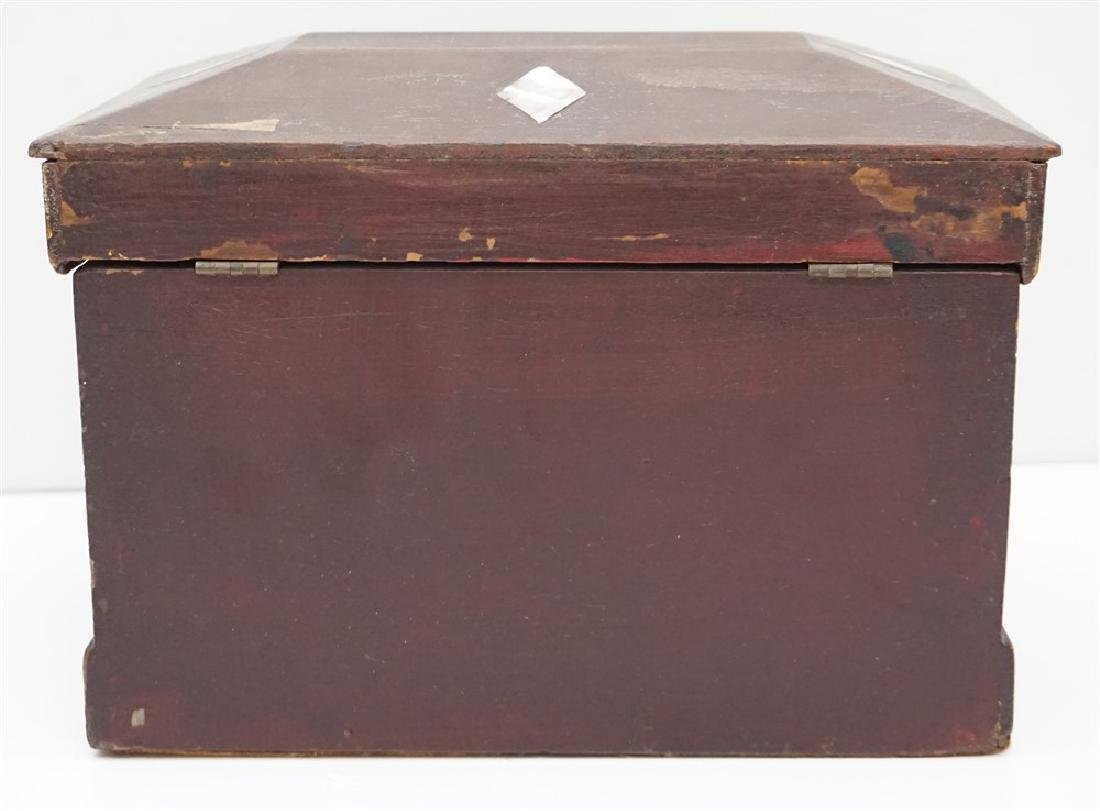 19th c INLAID MOP PAINTED JEWELRY BOX - 6