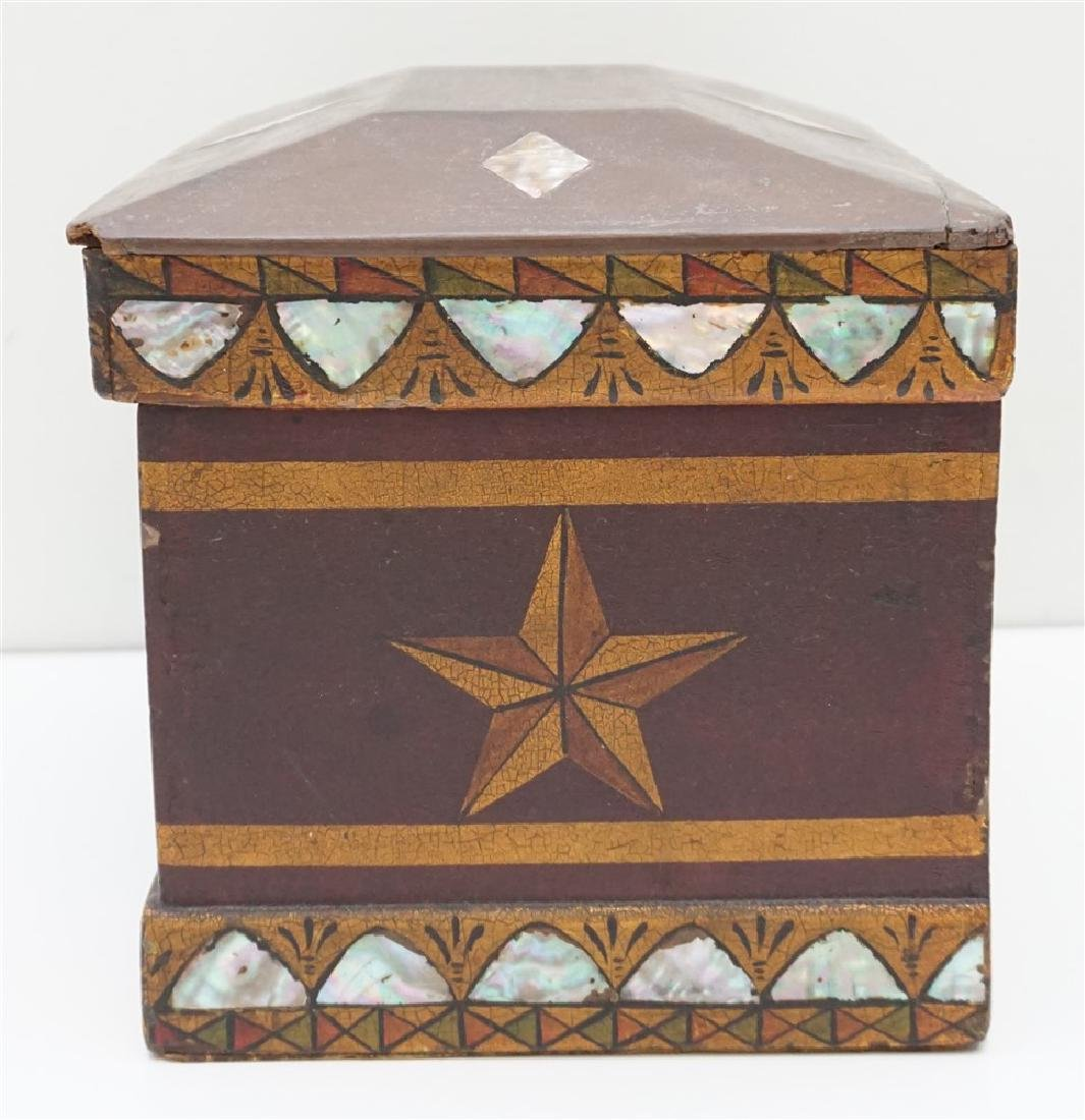 19th c INLAID MOP PAINTED JEWELRY BOX - 7