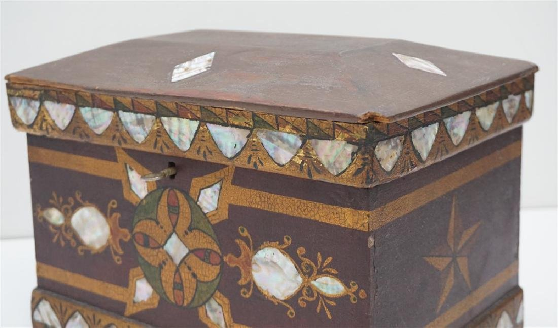 19th c INLAID MOP PAINTED JEWELRY BOX - 8