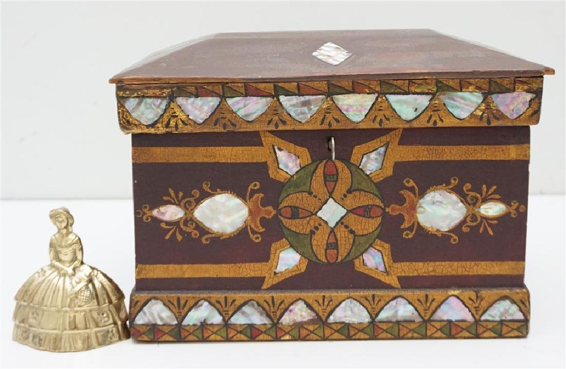 19th c INLAID MOP PAINTED JEWELRY BOX - 9