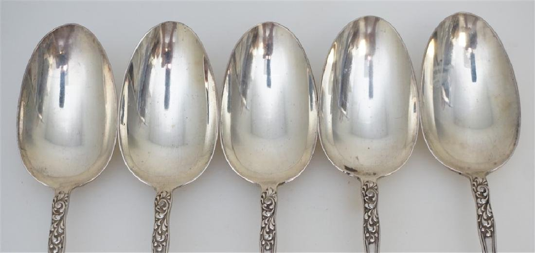 5 STERLING CUPID 1891 SOUP SPOONS - 3