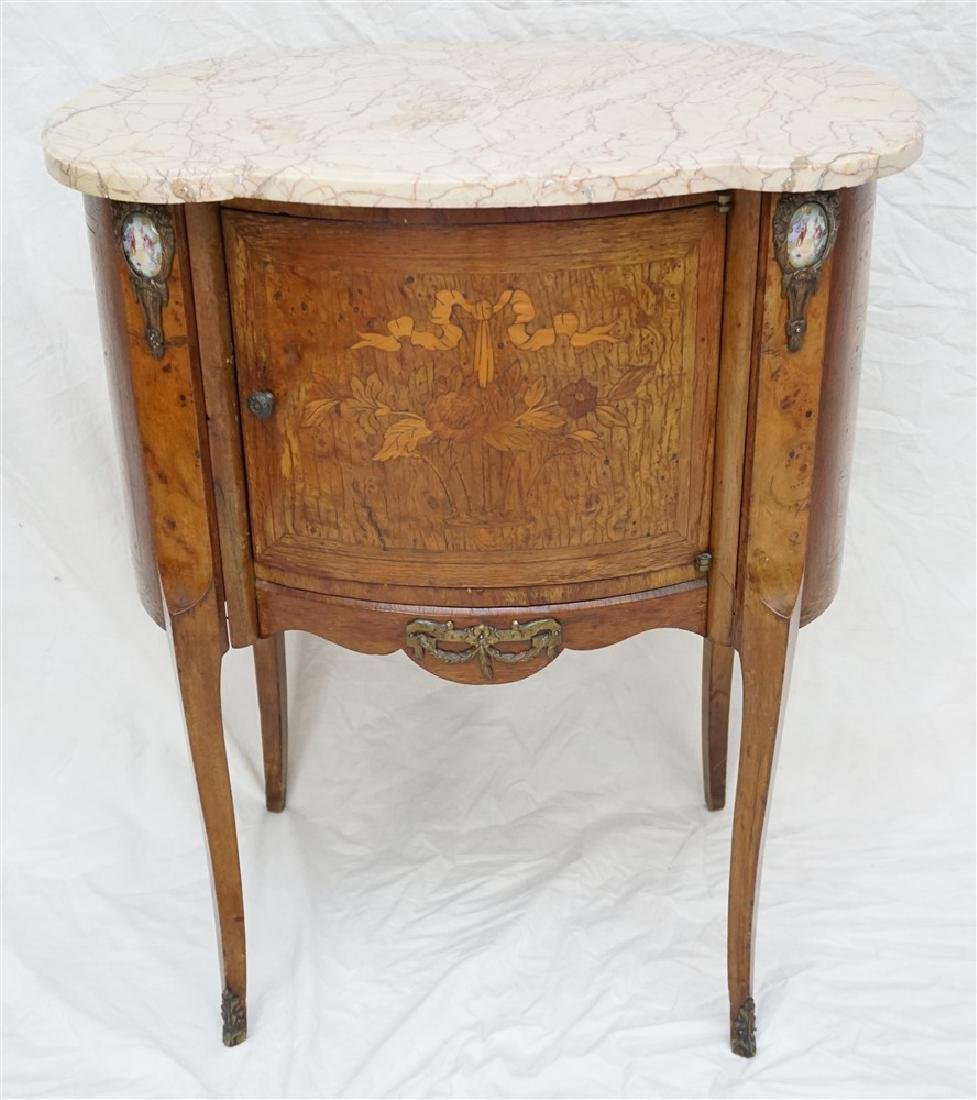 FRENCH INLAID MARBLE TOP SIDE TABLE